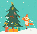 装扮圣诞树的狐狸