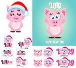 戴圣诞帽的粉红猪