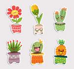 可爱植物盆栽贴纸