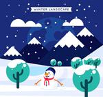 冬季雪地风景矢量