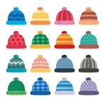 彩色花纹毛线帽