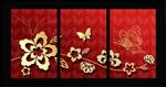 蝴蝶花纹藤蔓挂画