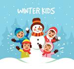 堆雪人的儿童