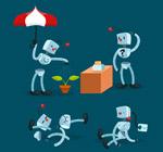 卡通银色机器人