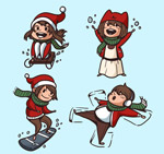 快乐冬季儿童
