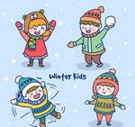冬季玩耍儿童