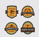 西部牛仔元素标签