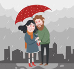雨中撑伞的情侣