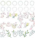 兔子花卉边框