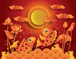 满月与金色锦鲤