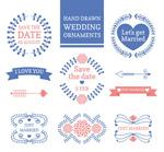 蓝色婚礼花纹标签