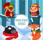 卡通冬季森林动物