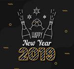 2019香槟酒艺术字