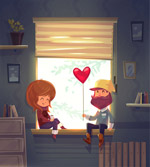 坐在窗边的情侣