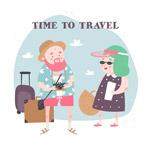 旅行男子和女子