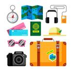扁平化旅行度假物品
