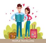 卡通旅行情侣