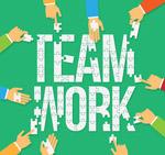 团队合作拼图艺术字