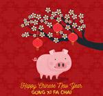 猪猪元素新年海报