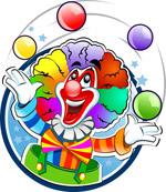 卡通玩球的小丑
