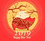 树木花纹新年背景