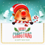 红鼻子猪圣诞贺卡