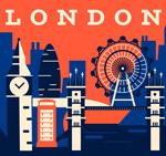 伦敦建筑剪影矢量
