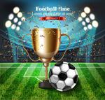 足球场奖杯和足球