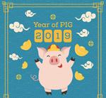 2019卡通猪和元宝