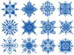 蓝色花纹雪花
