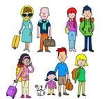 4组彩色旅行人物
