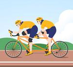 骑双人自行车的人