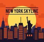 时尚纽约建筑剪影