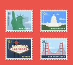 时尚旅游邮票设计