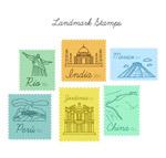 手绘旅游地标邮票