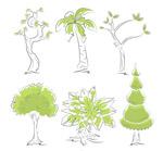 手绘绿色树木