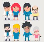 卡通医生和患者