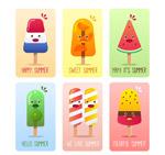 夏季表情雪糕卡片