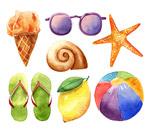水彩绘夏季物品