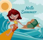海上冲浪的女孩