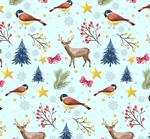 驯鹿和鸟无缝背景