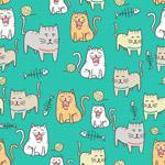 卡通猫咪无缝背景
