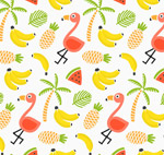 火烈鸟和水果背景