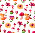 蘑菇和花卉无缝背景