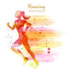 彩绘跑步女子剪影