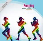 彩色跑步女子剪影