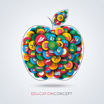校园图标组合苹果