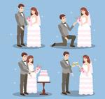 卡通新郎和新娘