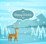 冬季野外森林和鹿
