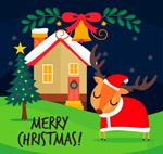 圣诞木屋和驯鹿